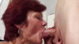 Redhead mature blows cock