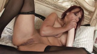 Solo with mature brunette