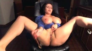 Big Tits BBW Squirts all over herself multiple times